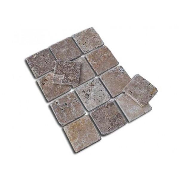 Travertino plytelės-mozaika GEA, be užpildo, sendintos 10x10x1 cm, m2